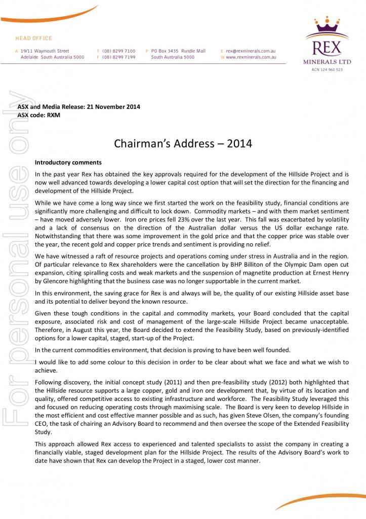 Chairman's Address 2014 #1