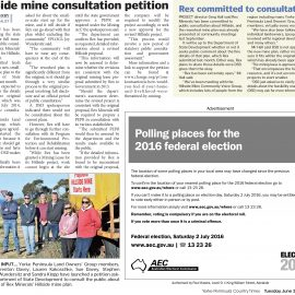 "Responding to YPLOG's petition calling for public consultation on Rex Minerals reworked mine plans, DSD said:  ""there would not be consultation about the current plans"""